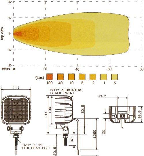 6 White LED Work Lamp - 1000 Lumens, 10V - 49V